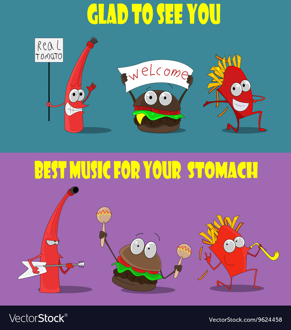 Group of friendly Fast Food meals vector image