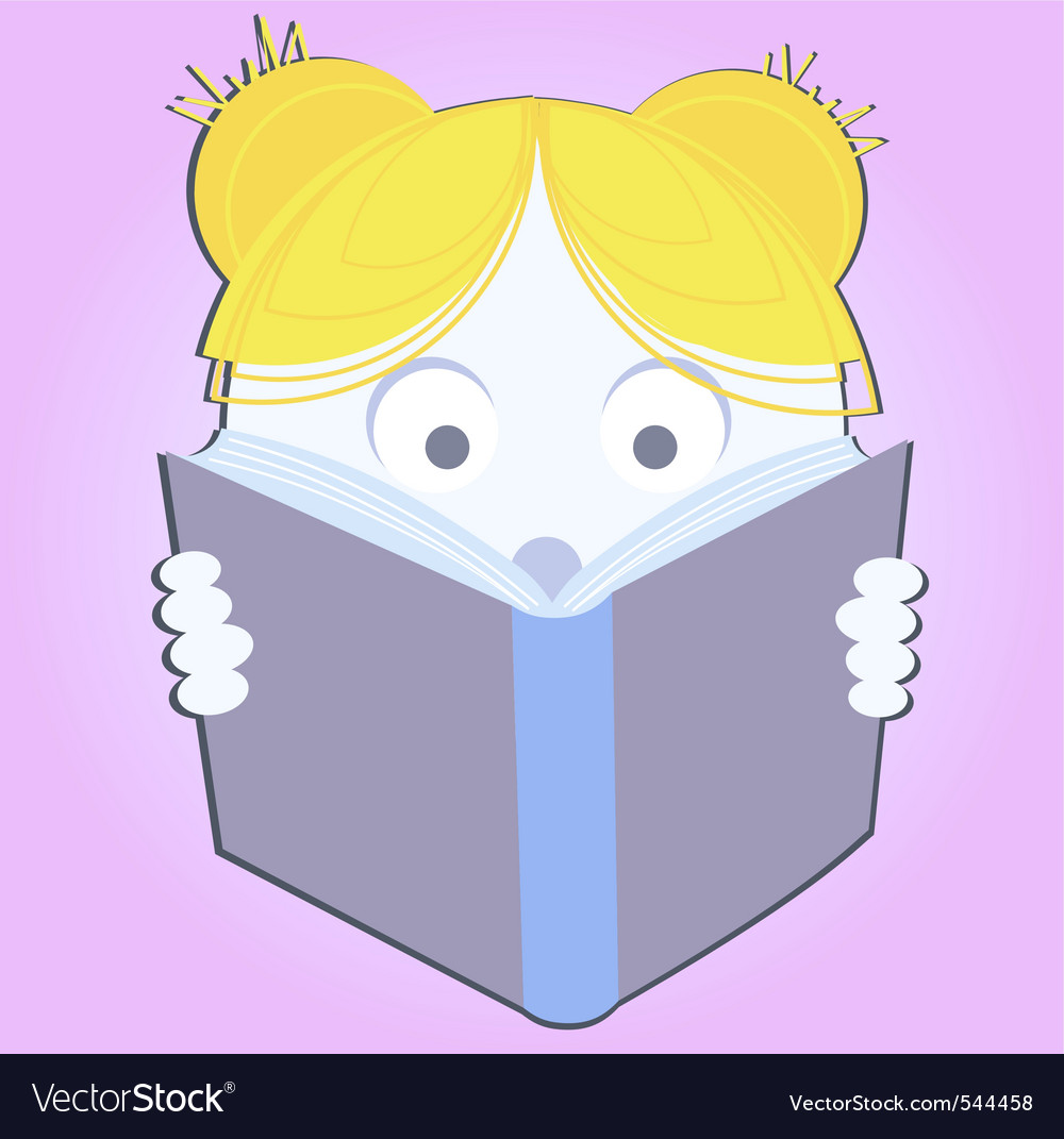 Little girl reading a book vector