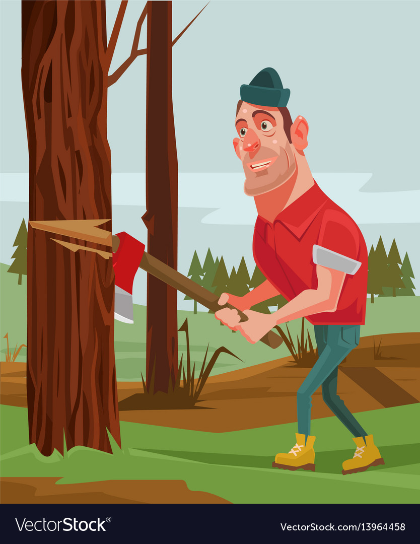 Lumberjack man character chopping wood