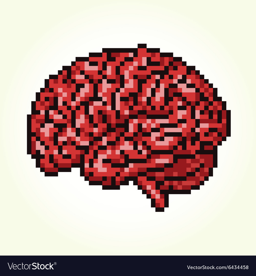 Pixel art brain isolated