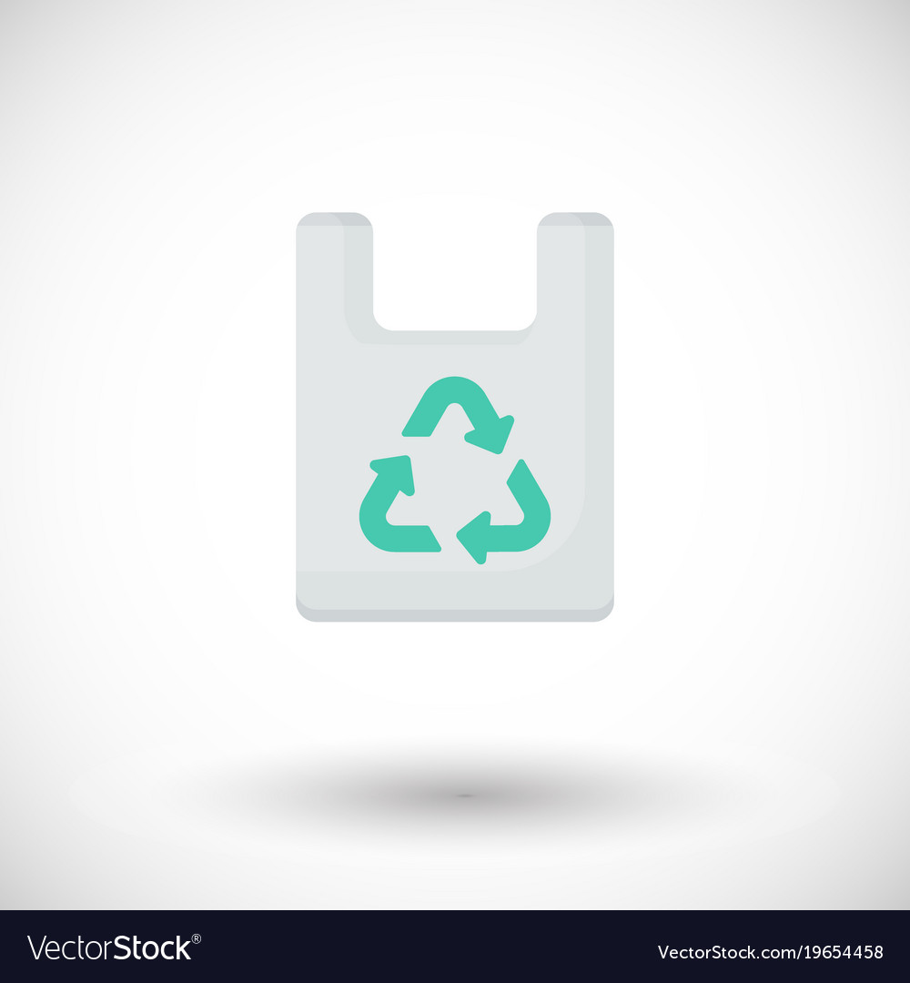 Plastic bag with recycle sign flat icon