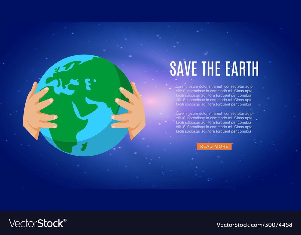 Save earth with human hands holding earth