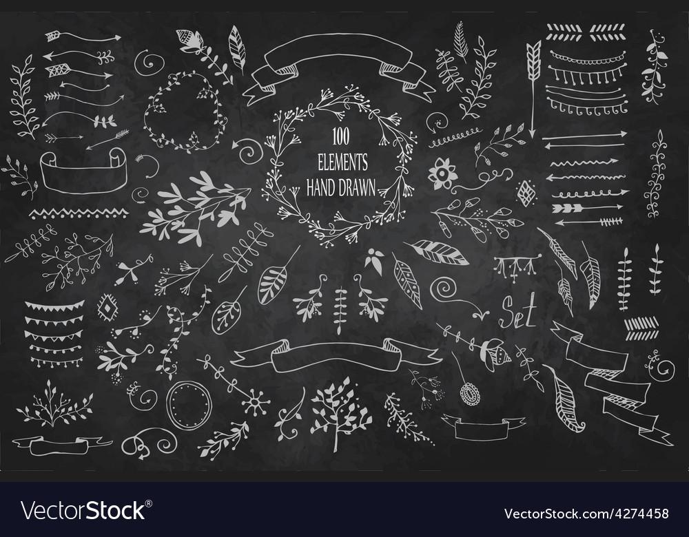 Set Hand Drawn elements frames dividers borders vector image