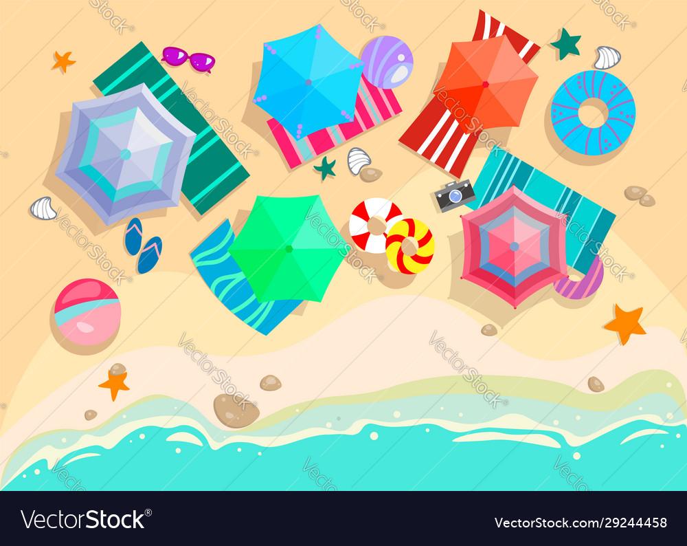 Summer beach with sand sea waves umbrellas sun