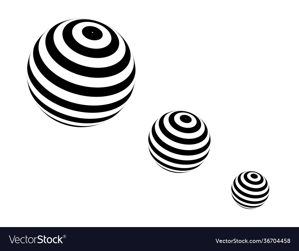 Three spheres with black stripes in progression