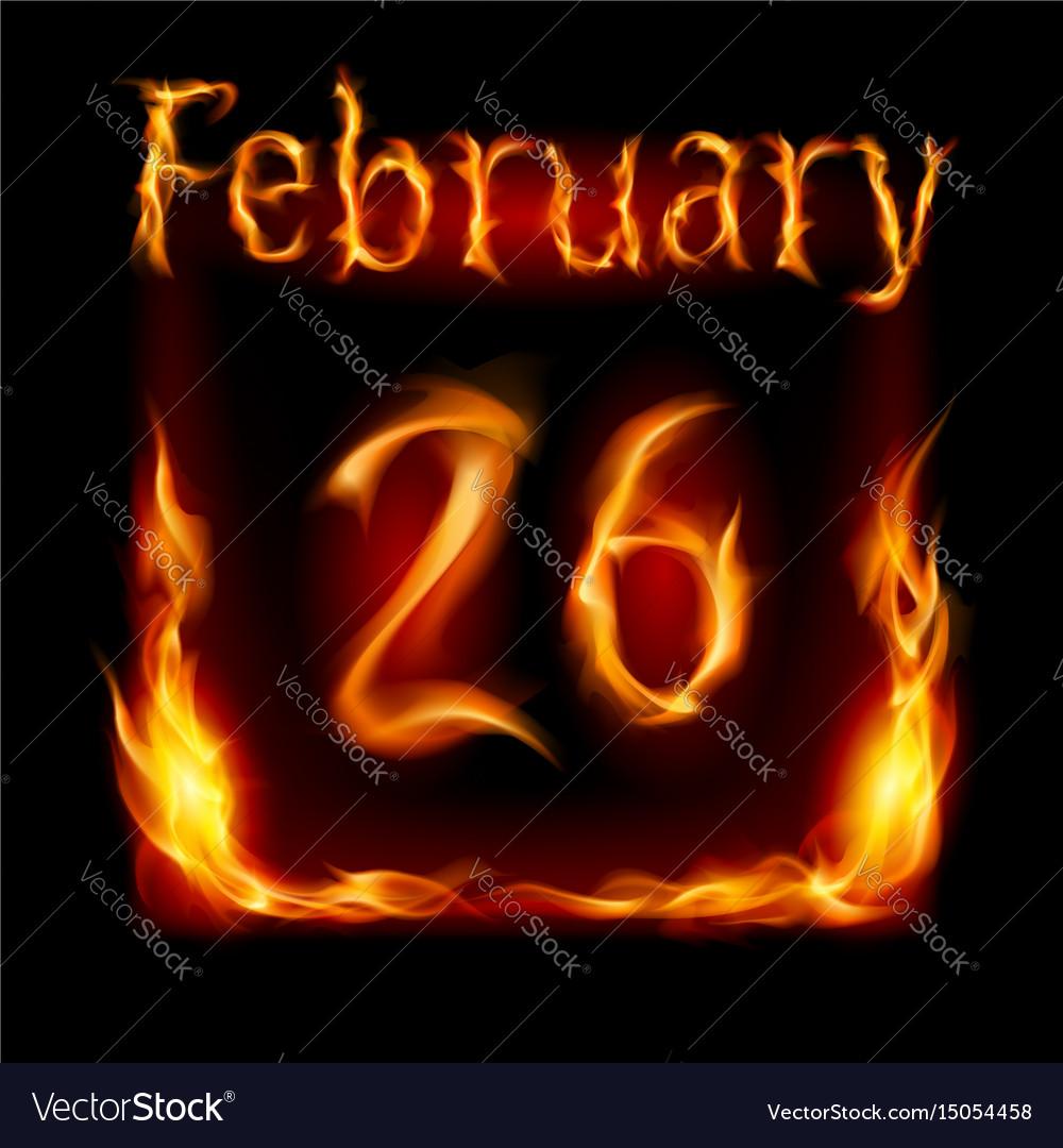 Twenty-sixth february in calendar of fire icon on