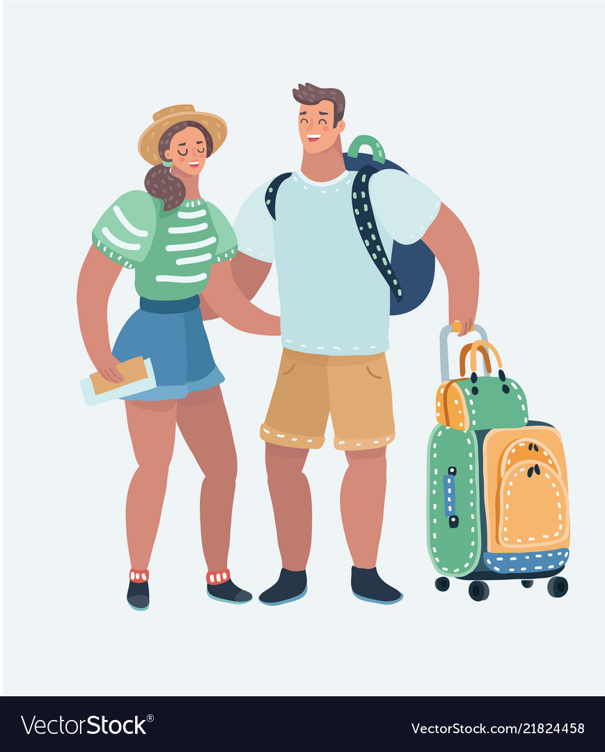 Young loving couple traveling