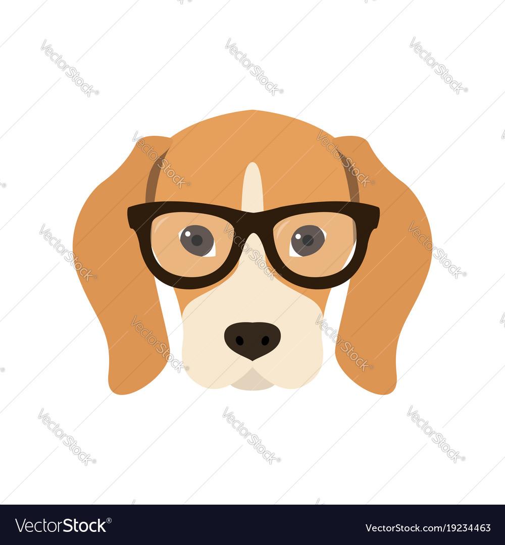 beagle in glasses cute dog royalty free vector image rh vectorstock com cartoon dog with big glasses white cartoon dog with glasses