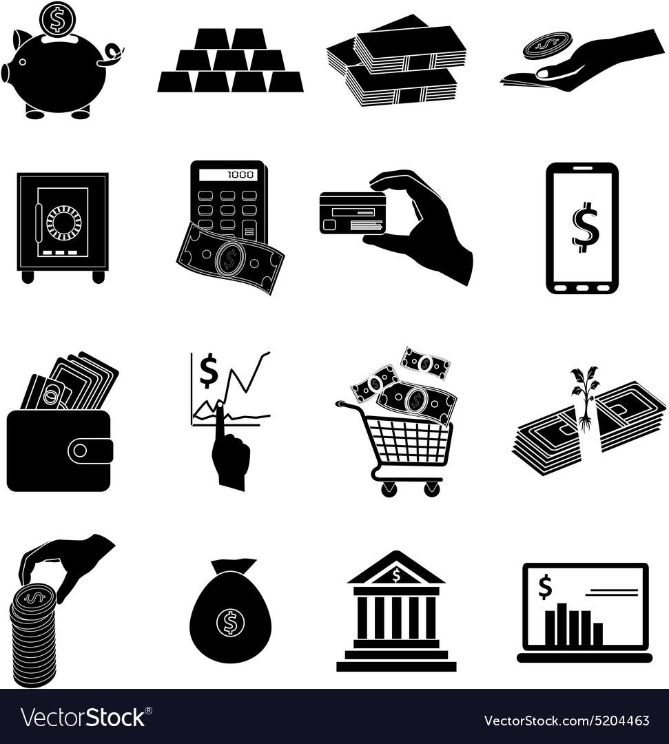 Business money icons set