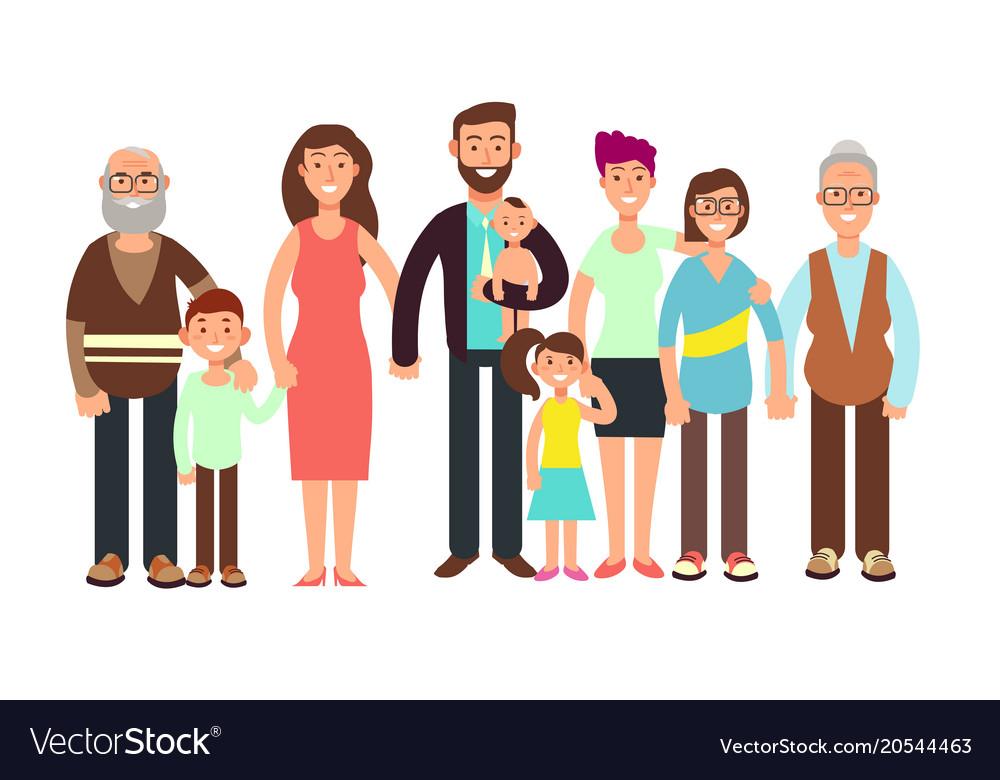 Cartoon smiling happy family grandpa and grandma