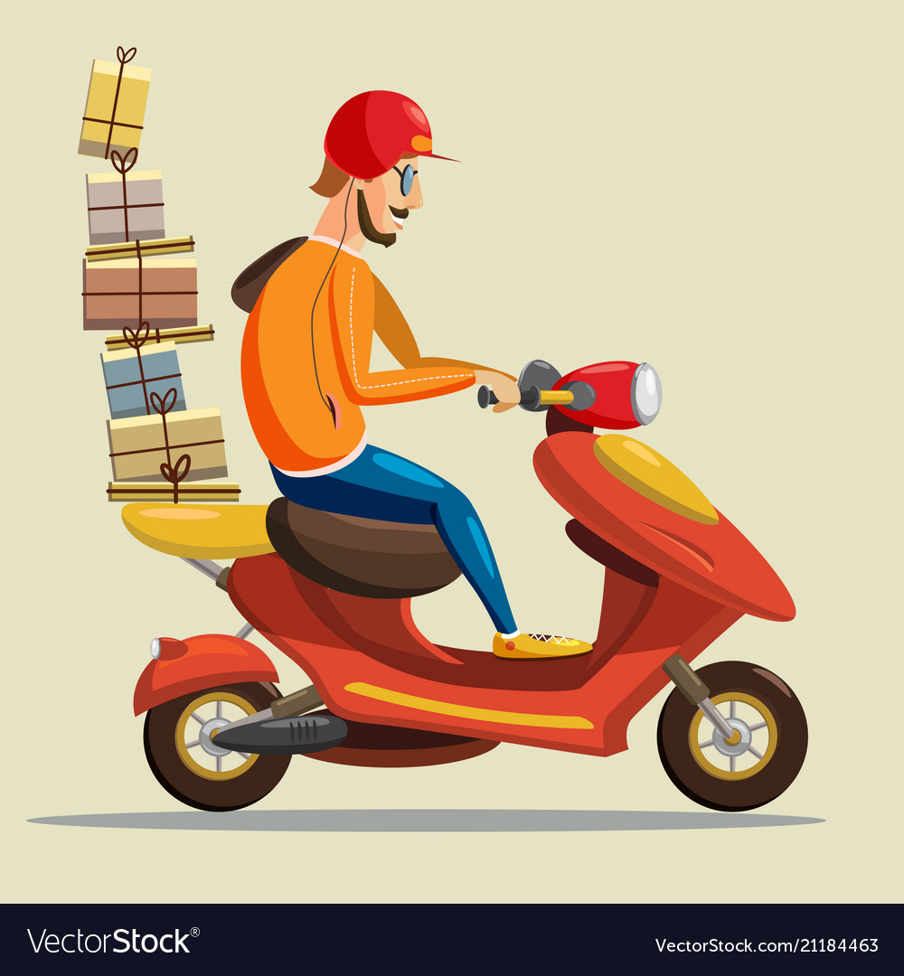 delivery scooter driver pizza products goods vector image