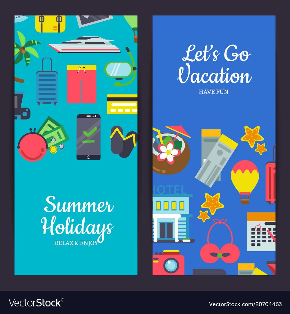 Flat travel elements banners