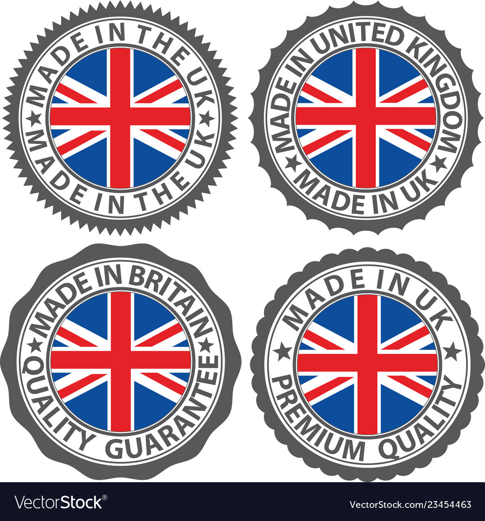 Made in uk label set with flag made in the uk