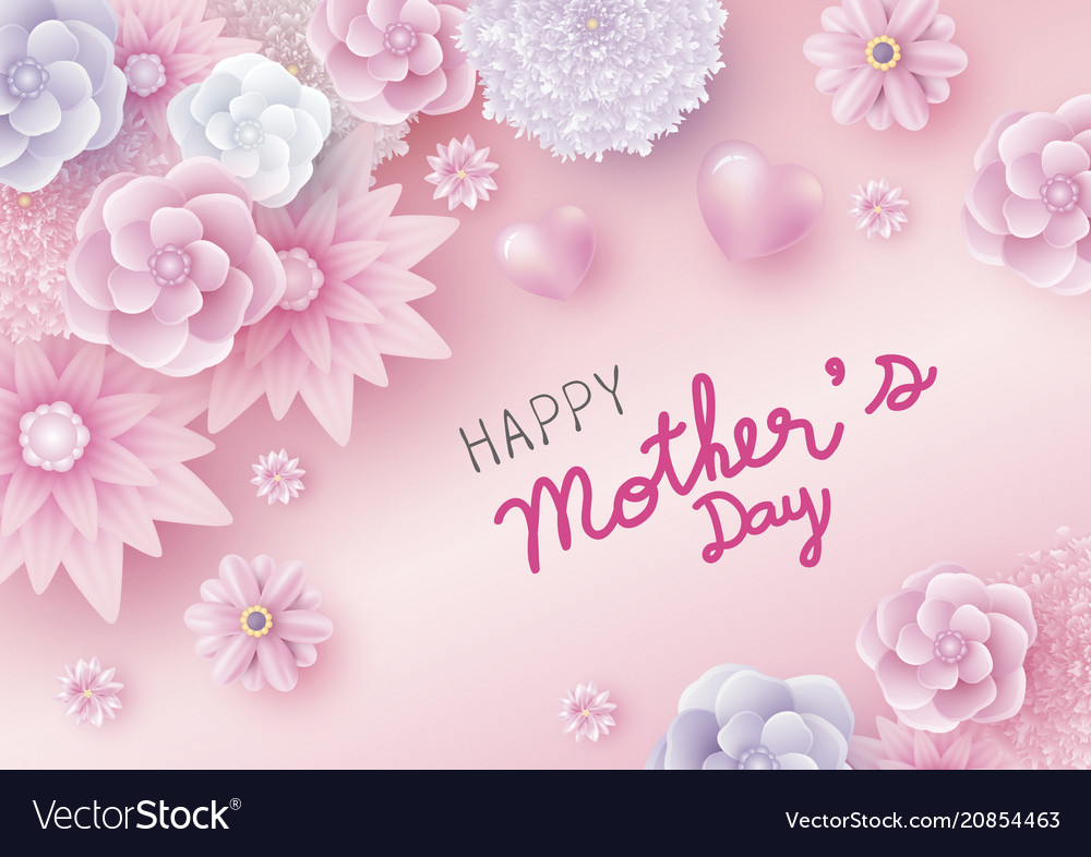 Mothers day card concept design flowers