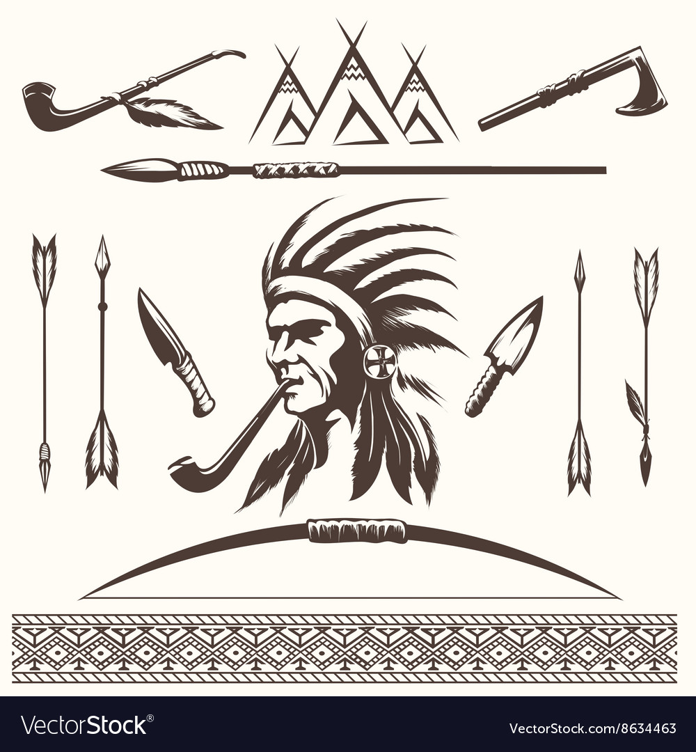Native american indian ethnic elements