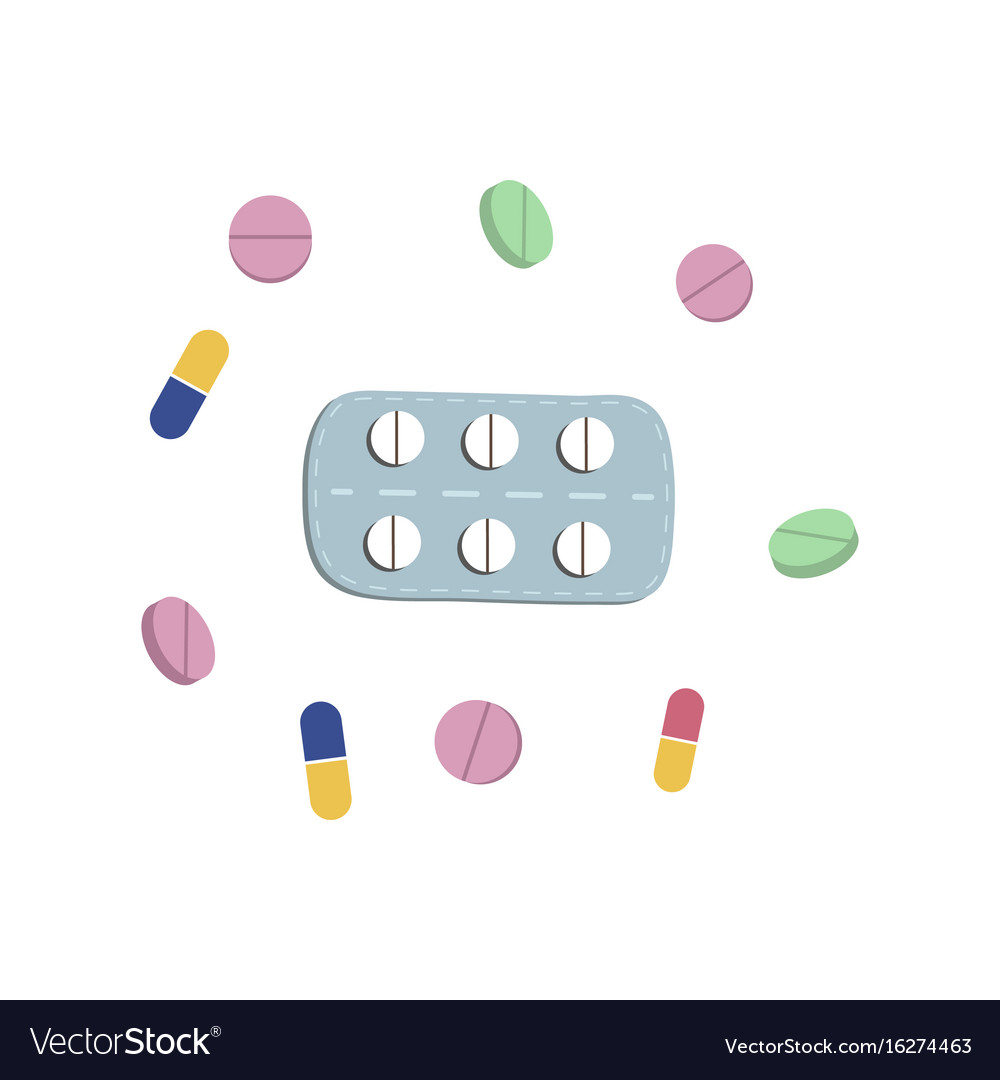 Pills blister and capsules flat set