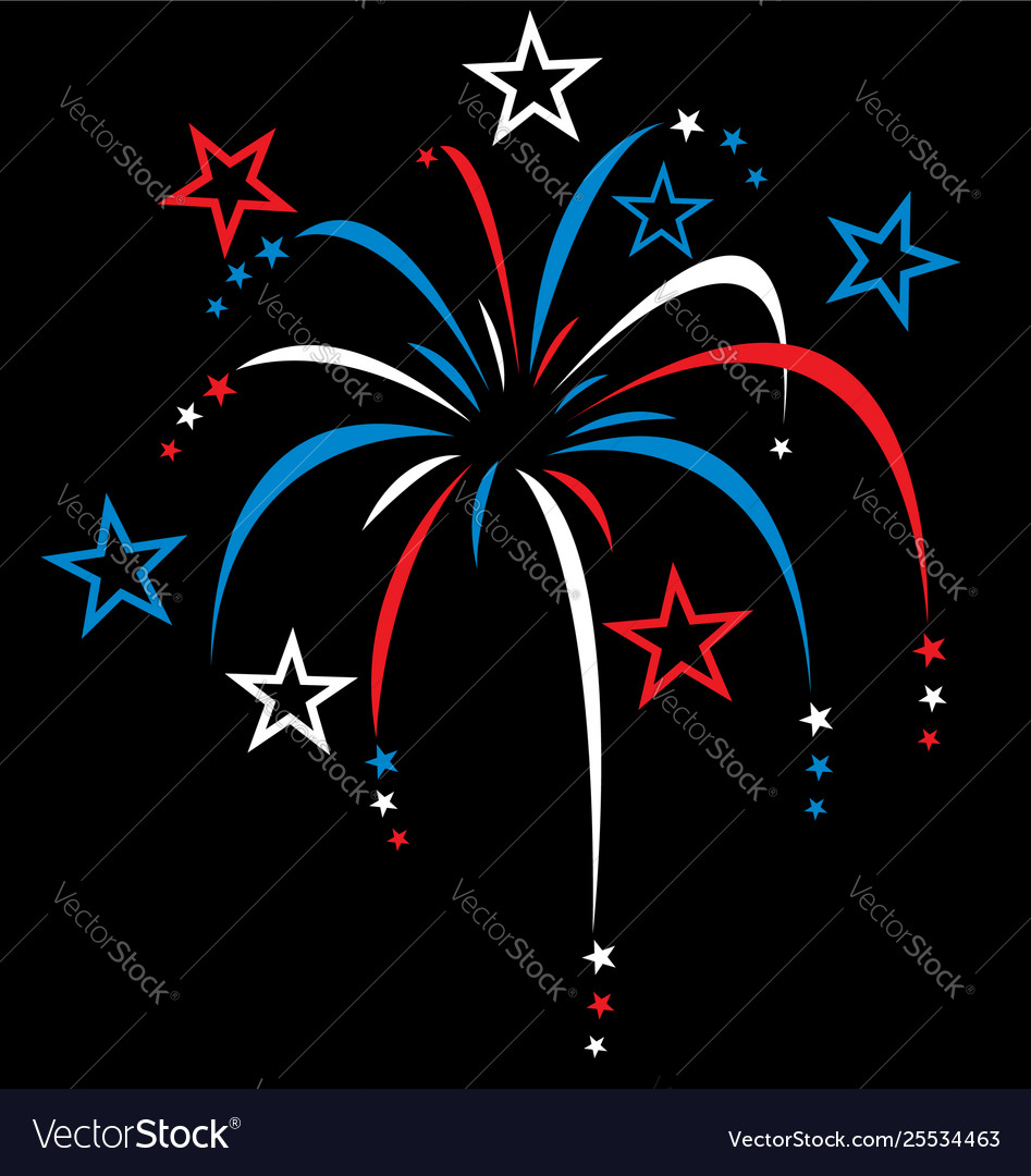 Red white and blue stylized fireworks