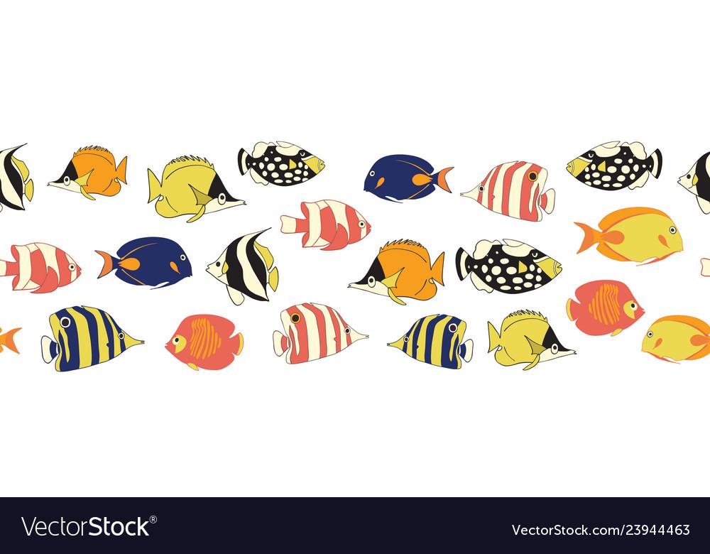 Reef fish seamless border