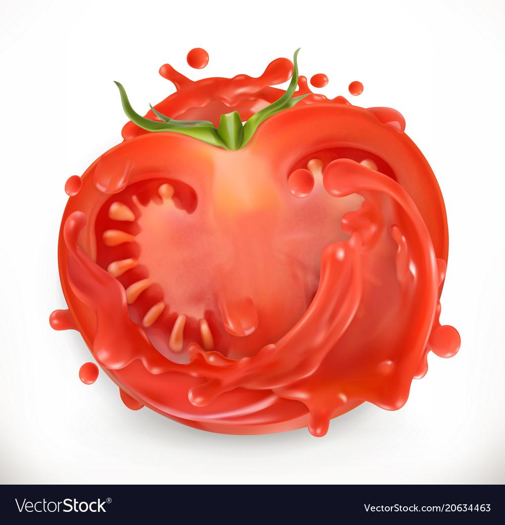 Tomato juice fresh vegetable 3d realism icon