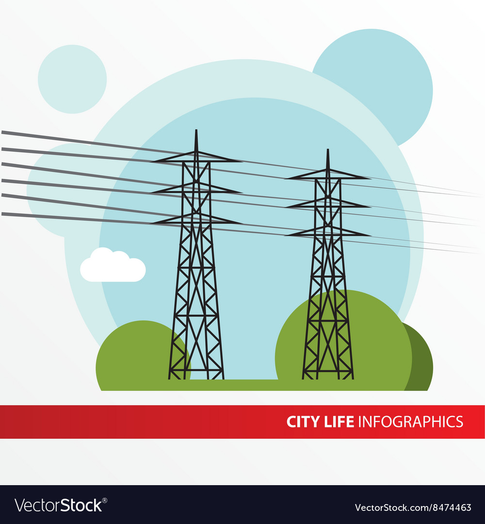 Transmission tower Isolated power-line carrier vector image