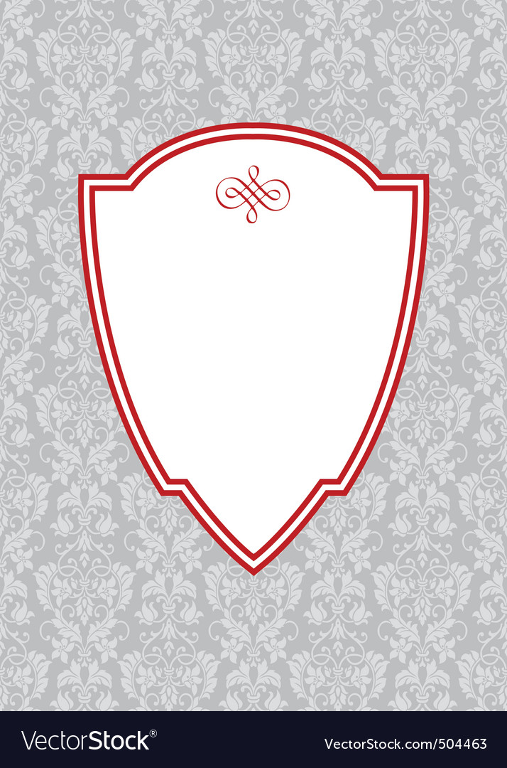 Vector red ornate frame and floral background2