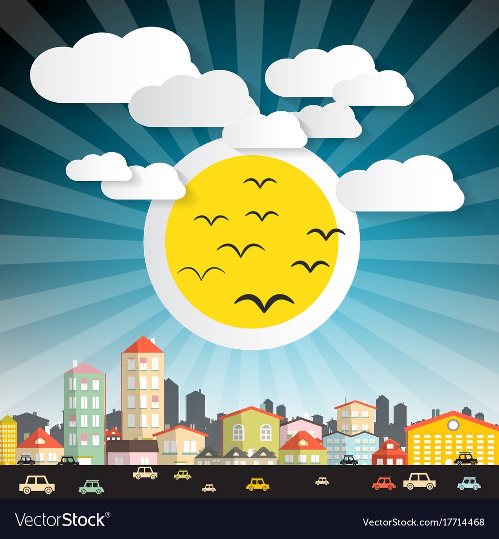 Abstract city with big sun and cars street