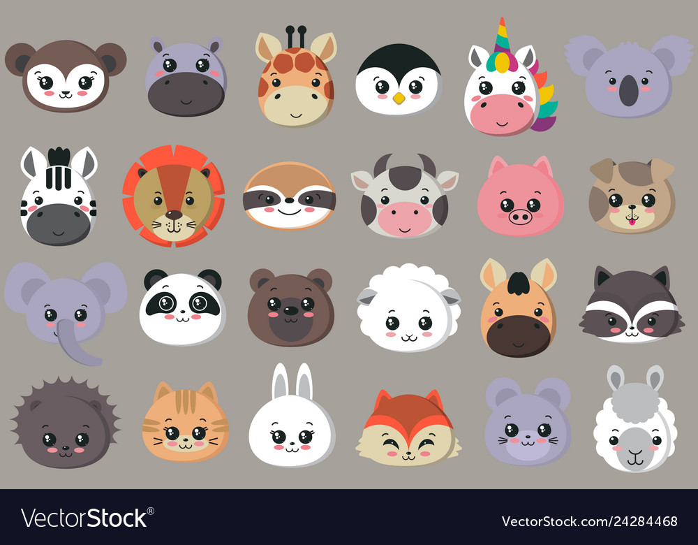 Collection of cute animal faces big icon