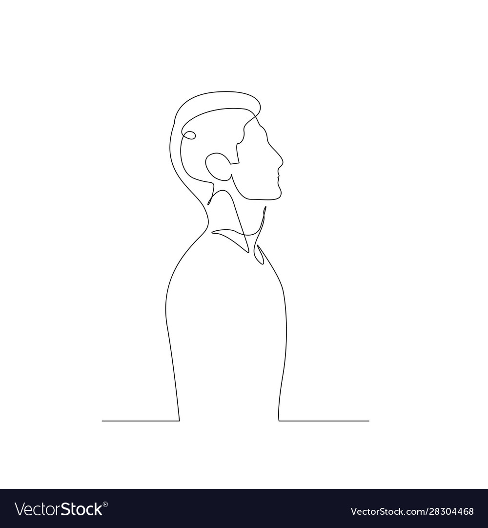 Continuous One Line Man Side View Royalty Free Vector Image