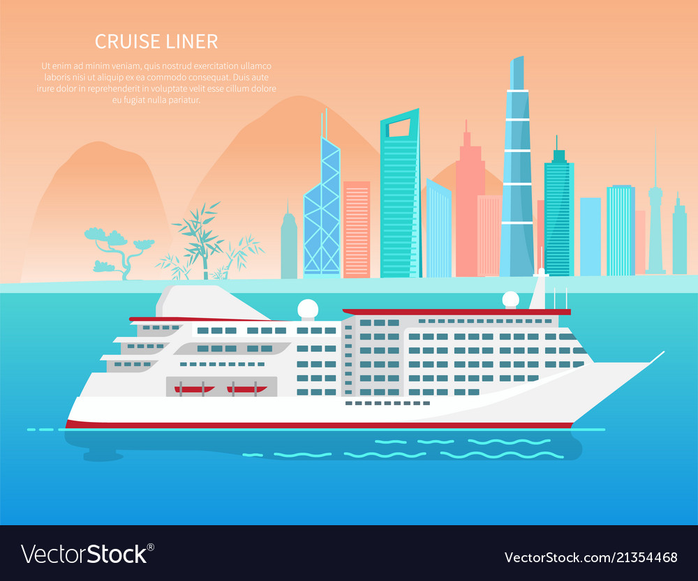 Cruise liner poster and text