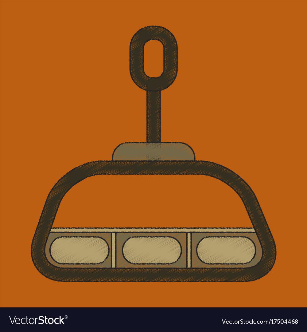 Ski lift icon in flat style