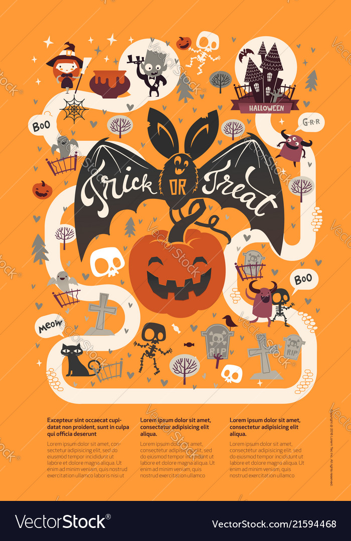 Happy halloween flyer template in a flat style