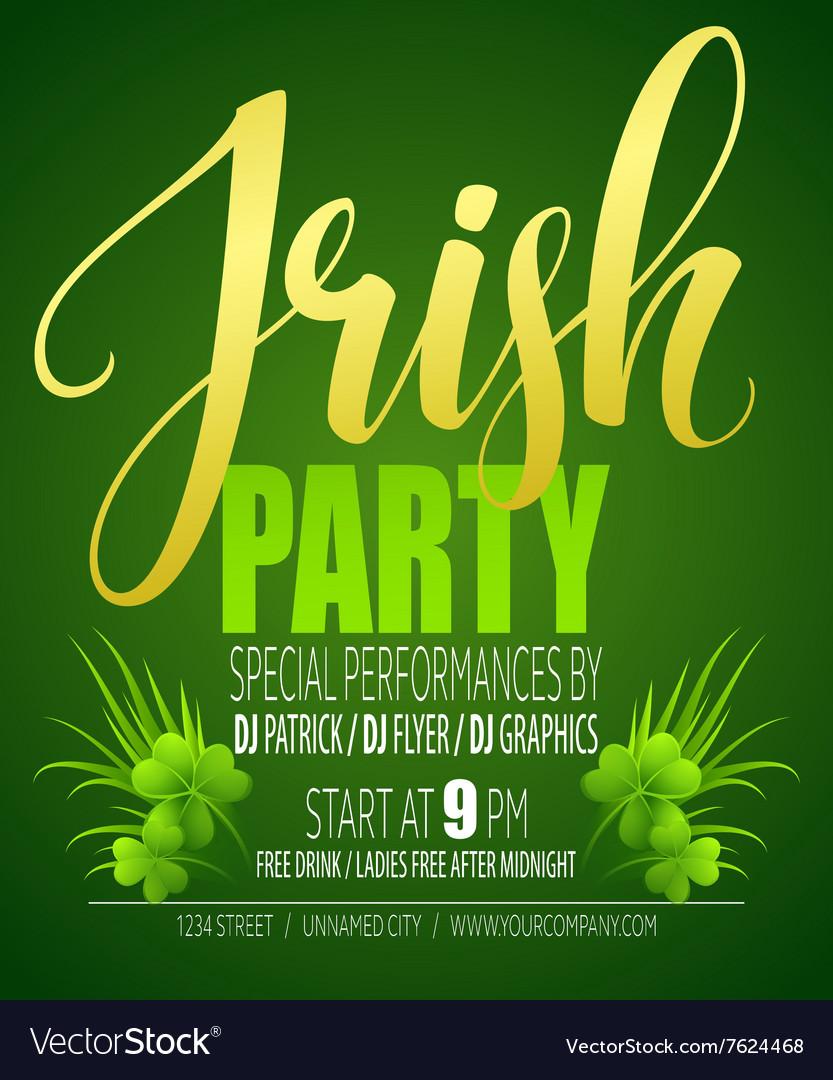 Irish party poster st patricks day