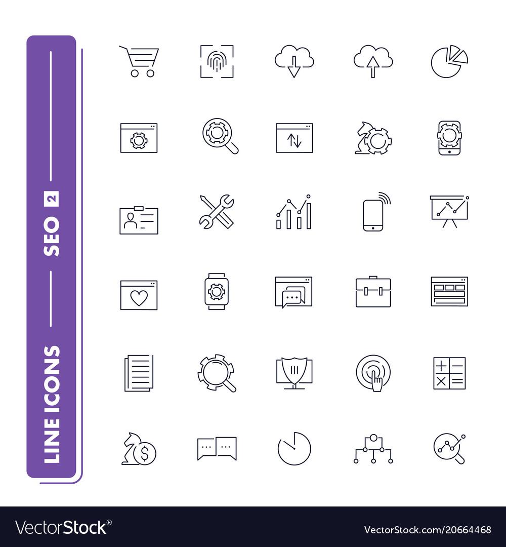 Line icons set seo