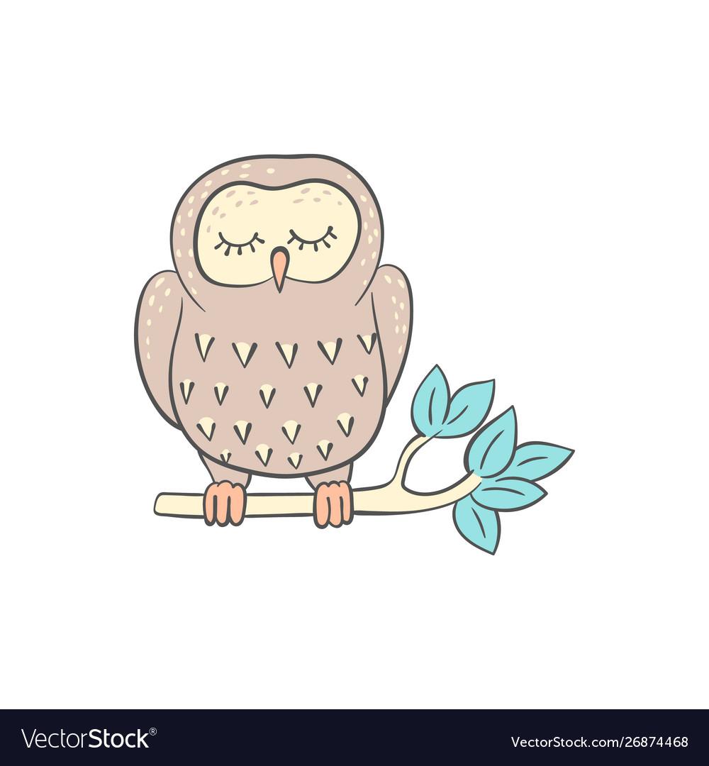 Owl sleeping on tree branch cute doodle