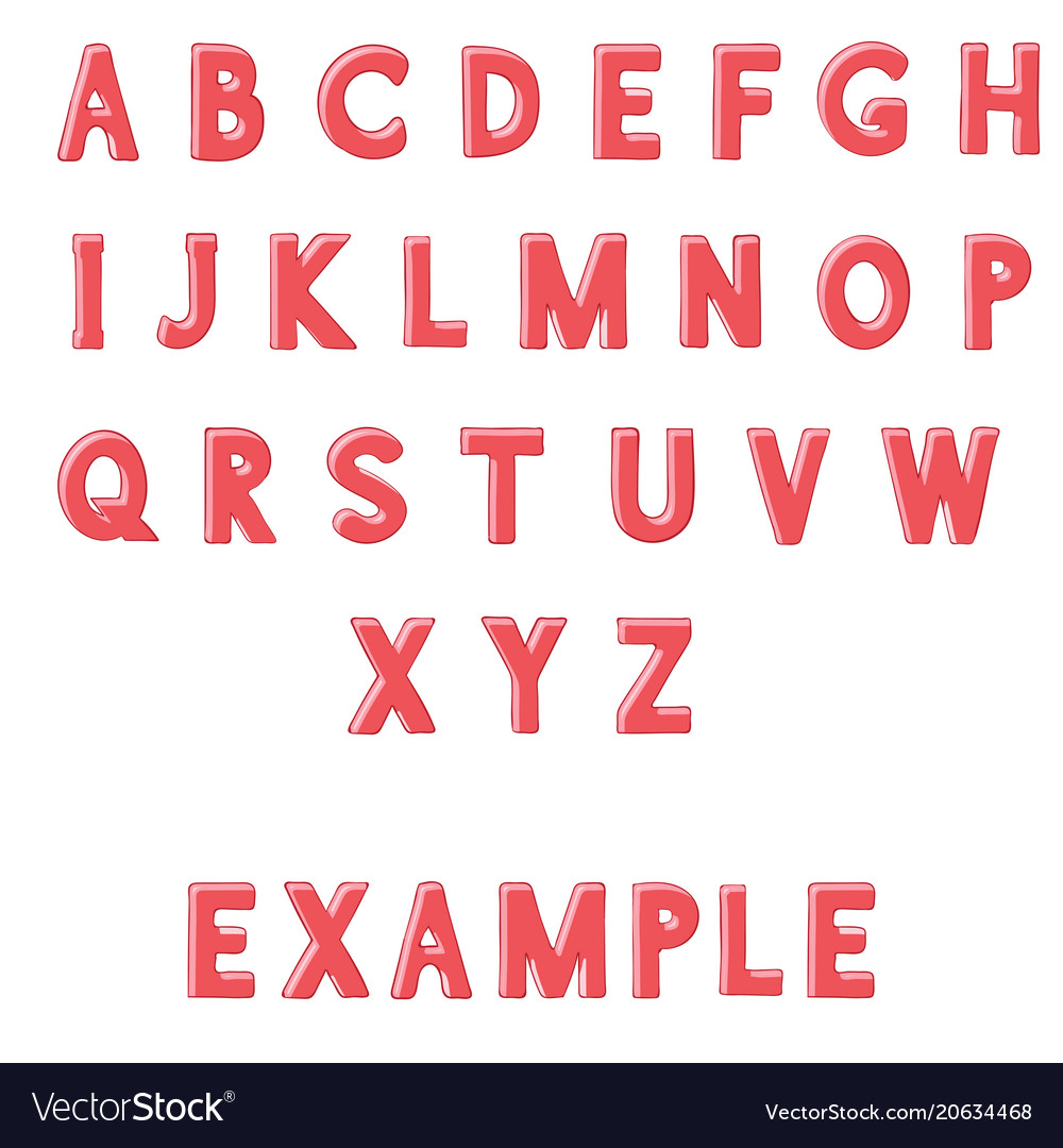 Red font alphabet letters hand drawn doodle