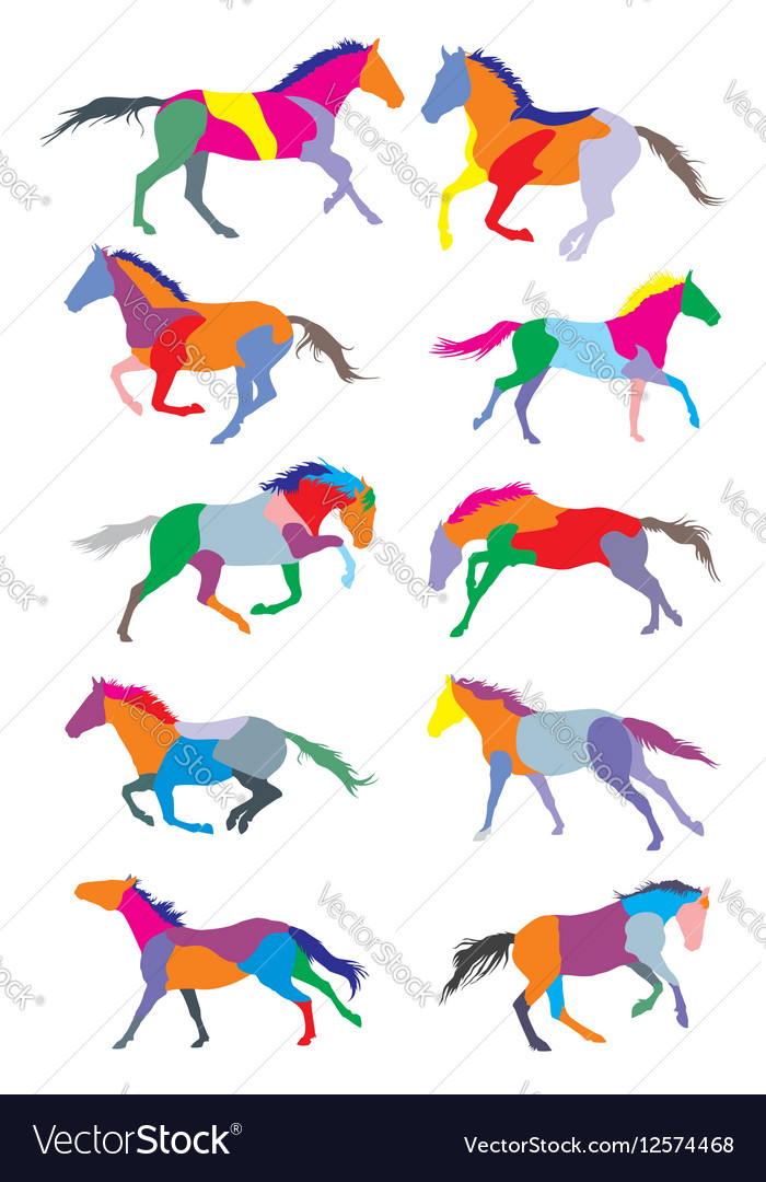 Set of horses colorful silouettes