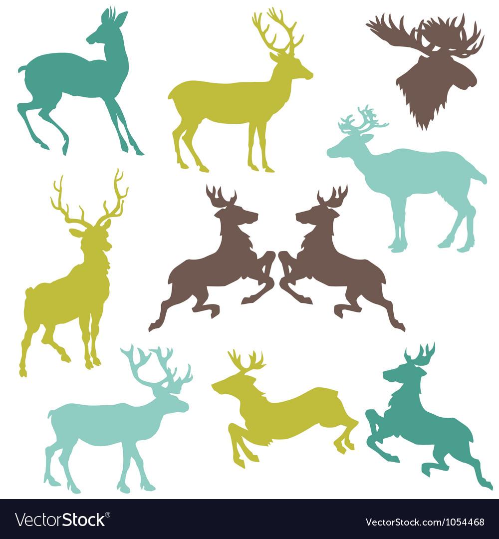 Set of Reindeer Christmas Silhouettes