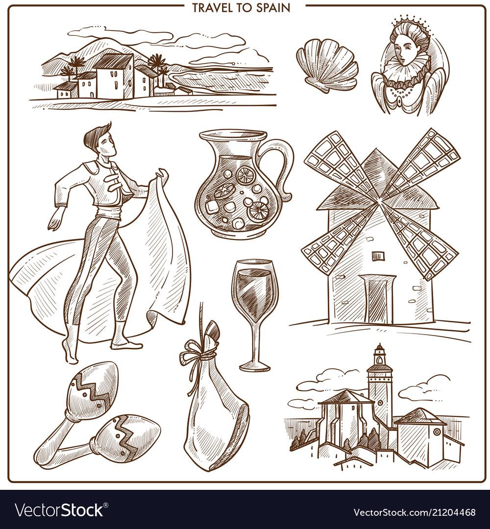 Spain travel symbols and sketch landmarks