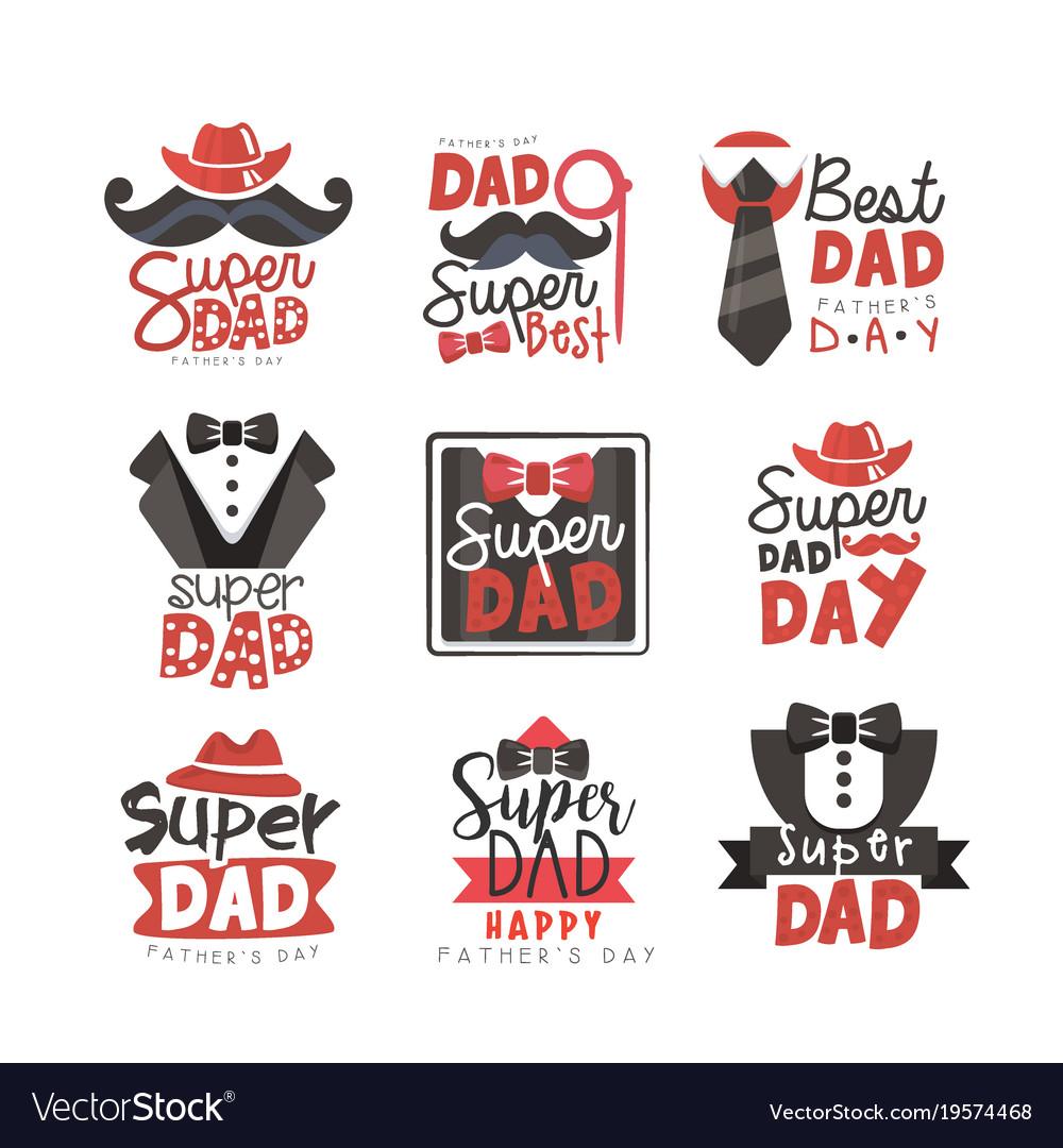 Super Dad Logo Set Fathers Day