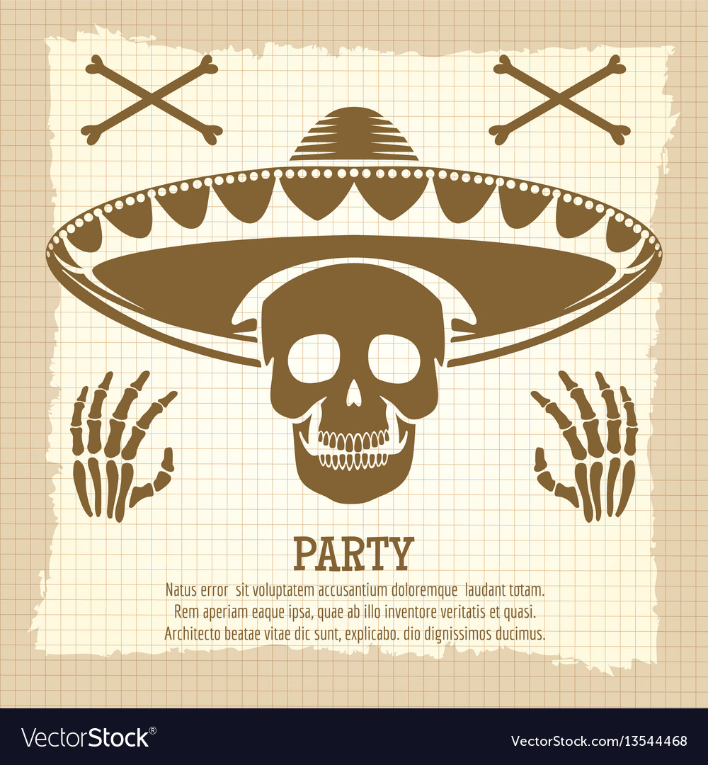 Vintage party poster with skull vector image
