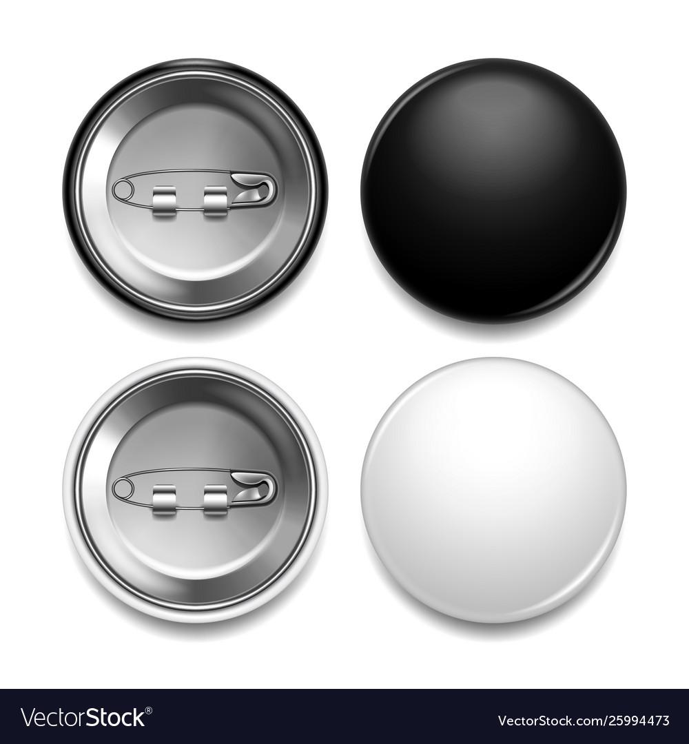 Black and white round badge photo realistic set