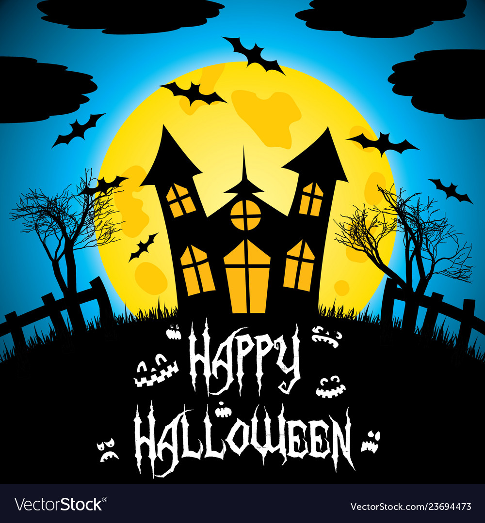 Colorful happy halloween postcard