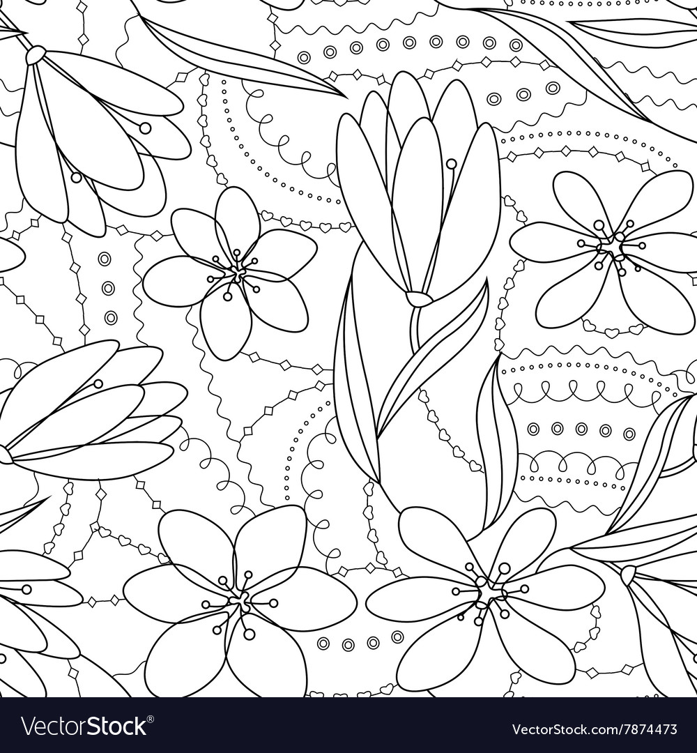 Coloring antistress with crocuses flowers vector image