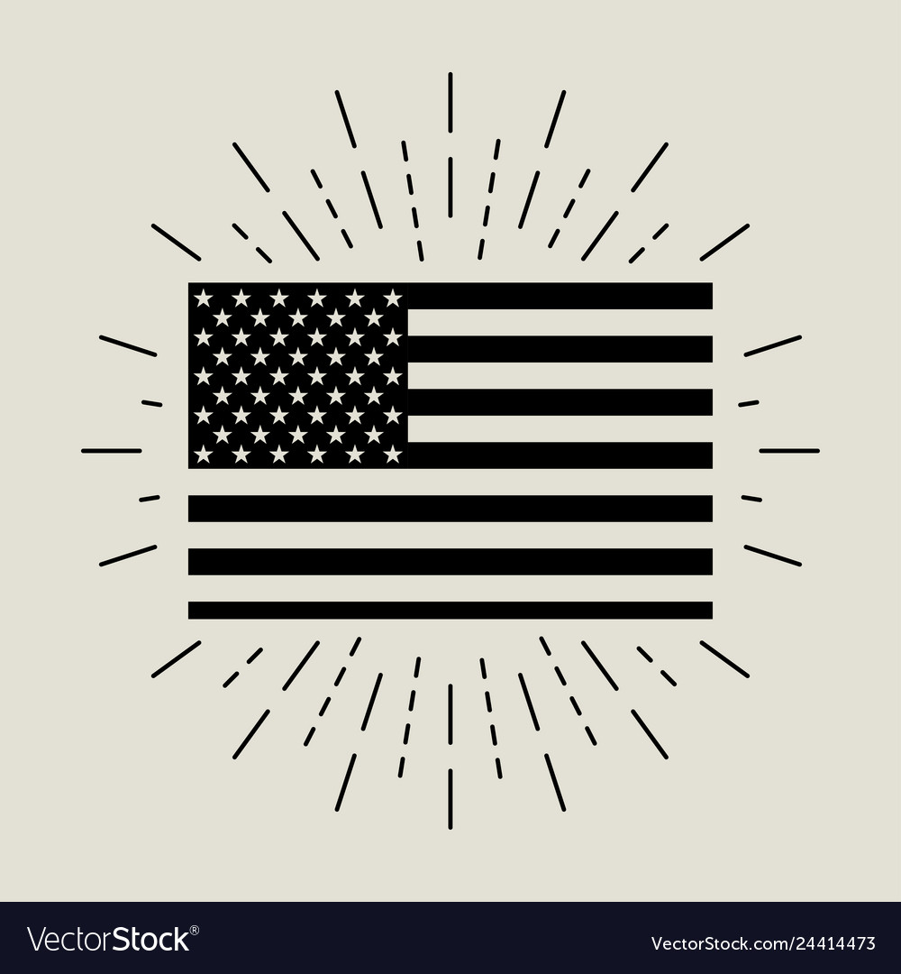 Flag with burst in flat style