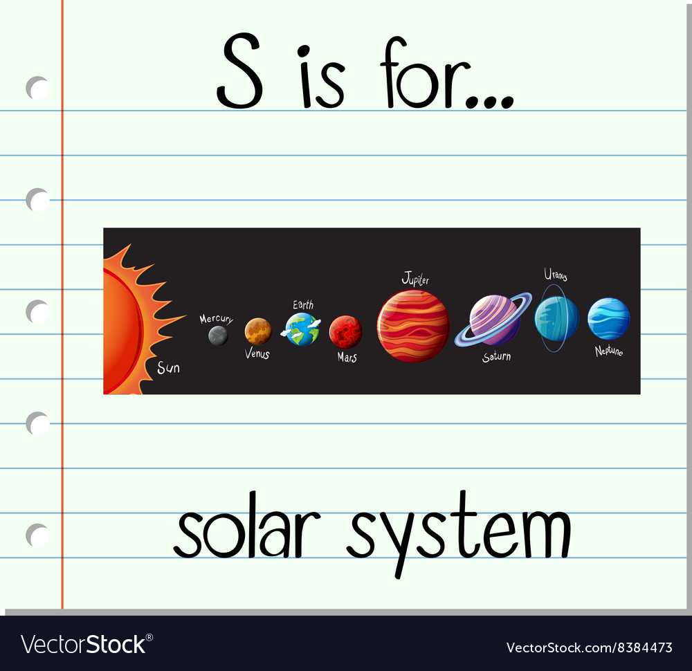 Flashcard letter S is for solar system