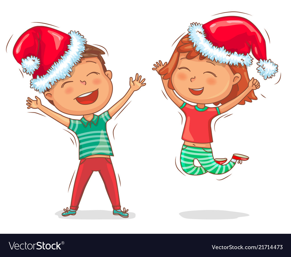 Joyful children in cap santa claus