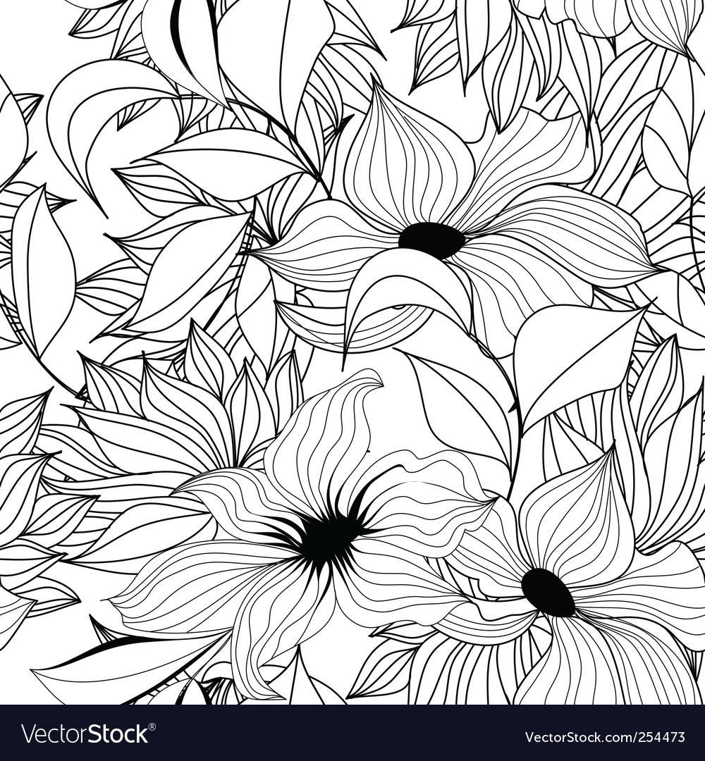 Monochrome seamless wallpaper vector image