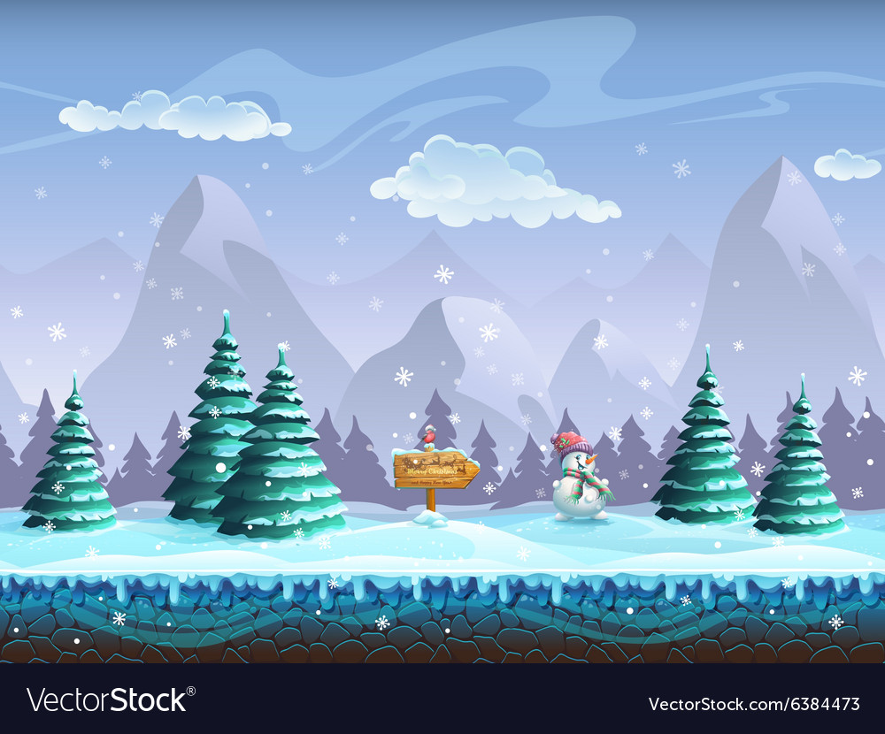Seamless cartoon background with winter landscape