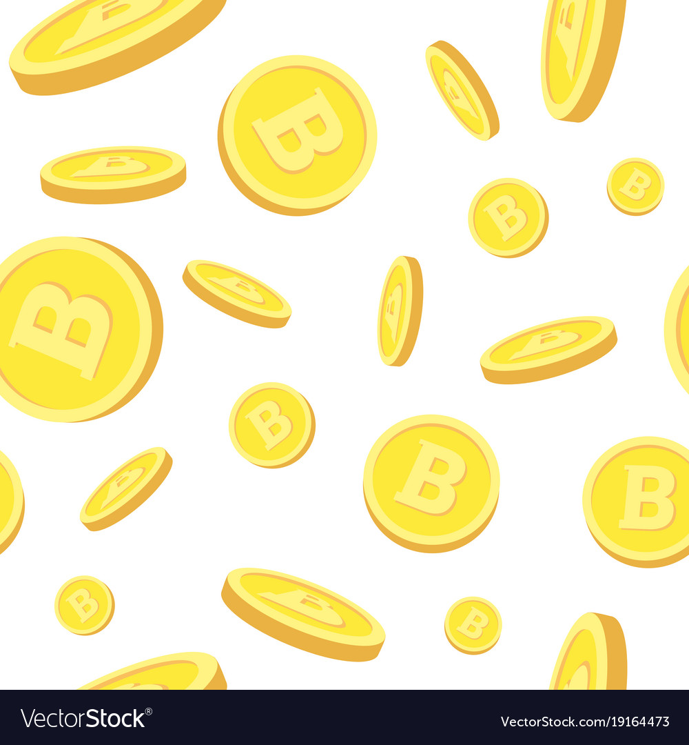 Seamless pattern with realistic bitcoins falling
