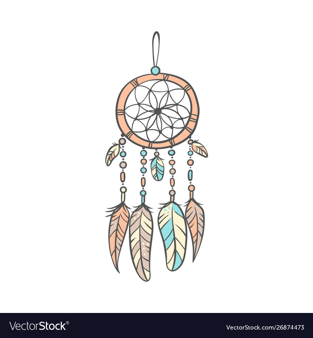 - Stylish Dream Catcher With Feathers In Soft Colors